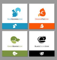 squirrel fox beaver and skunk logo vector image