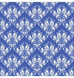 damask seamless on blue background vector image vector image