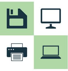 laptop icons set collection of laptop desktop vector image