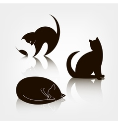 set of black silhouette cat icons logo vector image vector image