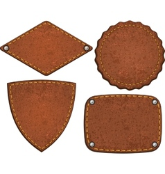 Set of leather labels vector image