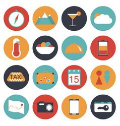 16 travel icon set flat style vector image