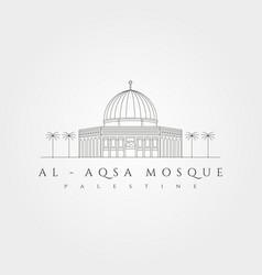 Al aqsa mosque minimal logo symbol design al-isra vector