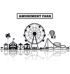 Amusement park silhouette banner design vector