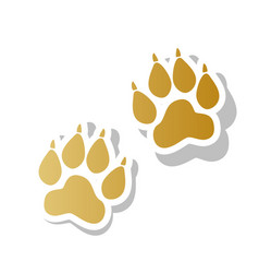 Animal tracks sign golden gradient icon vector