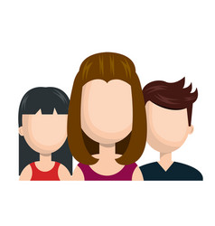 avatar women and guy social network team graphic vector image