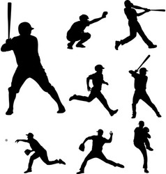 Baseball silhouettes collection 2 vector