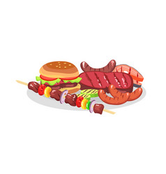 bbq food exposition big burger and savory steaks vector image