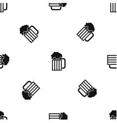 beer mug pattern seamless black vector image