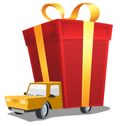 Birthday gift on delivery truck vector