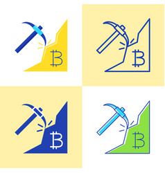 bitcoin mining icon set in flat and line style vector image