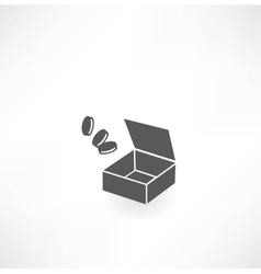 box with coins icon vector image