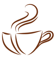 brown coffee cup logo color on white background vector image