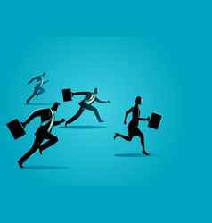 businessmen racing with businesswoman vector image