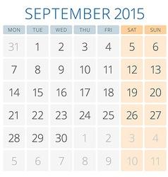 Calendar 2015 September design template vector