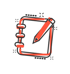 cartoon notepad edit document with pencil icon in vector image