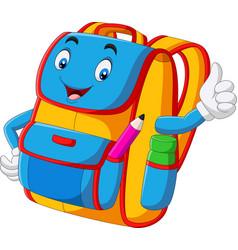 Cartoon school backpack giving thumbs up vector