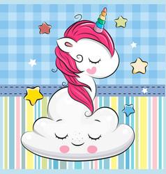 Cartoon unicorn is sleeping a on cloud vector