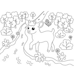 children coloring book farm animal goat on the vector image