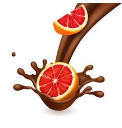 Chocolate splash with grapefruit vector