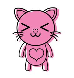 color happy cat cute feline animal vector image