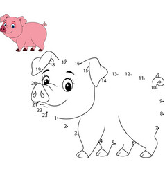connect the number to draw the animal game pig vector image