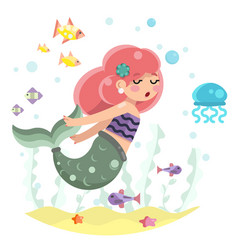 Cute bodypositive mermaid girl swimming in sea vector