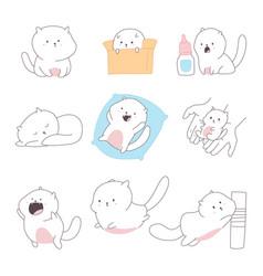 cute cats cartoon doodle vector image