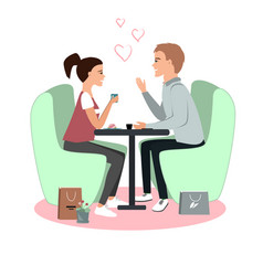 Cute girl and boy in cafe happy valentines day vector