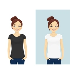 Cute girl in T-shirts vector