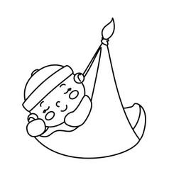 cute little baby boy hanging in diaper vector image