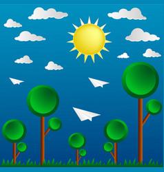 Cute paper design in nature landscape vector
