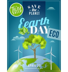 Earth Day Ecology Awareness Poster vector image