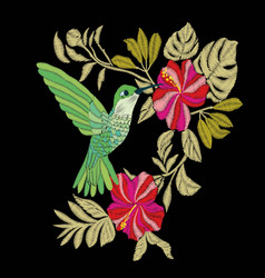 Embroidery with hummingbird and orchid flowers vector