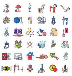 Energy research icons set cartoon style vector