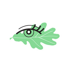 eye with green leaf vector image