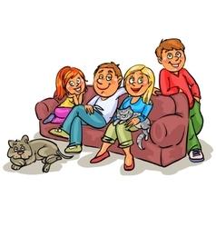 Family on a sofa vector