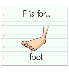 Flashcard letter F is for foot vector