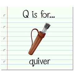 Flashcard letter Q is for quiver vector