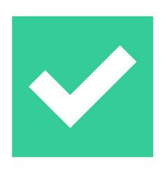 Flat check mark icon addition square sign button vector