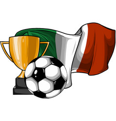 football ball with cup and italina flag vector image