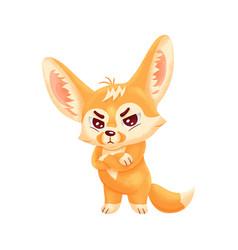 Funny fennec fox looking severely cute kawaii vector