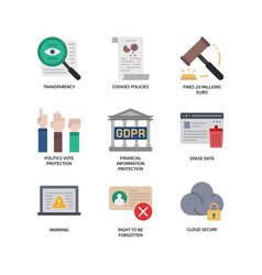 General data protection regulation gdpr icons vector