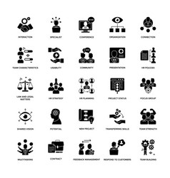 Glyph icon set project management vector