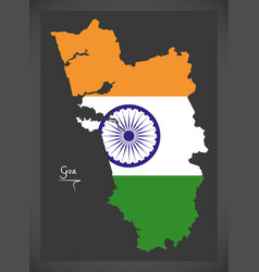 Goa map with indian national flag vector