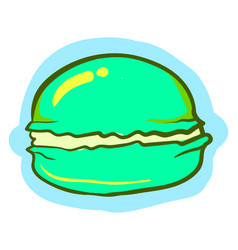 green macaron on white background vector image
