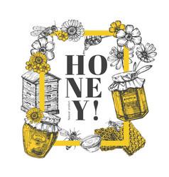 hand drawn honey background vector image