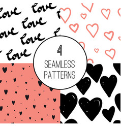 Hand drawn seamless pattern with hearts vector