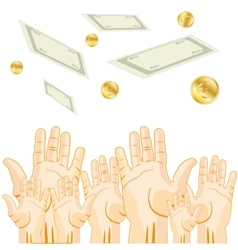 Hands is pulled to money vector