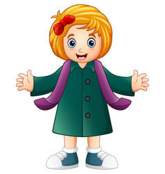 happy girl in green winter clothes vector image